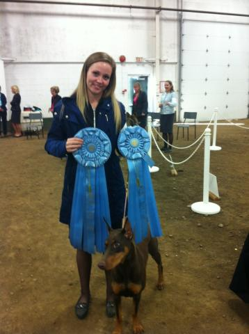 Phoenix and Danica with BP ribbons Work Herd Specialty Oct 2013